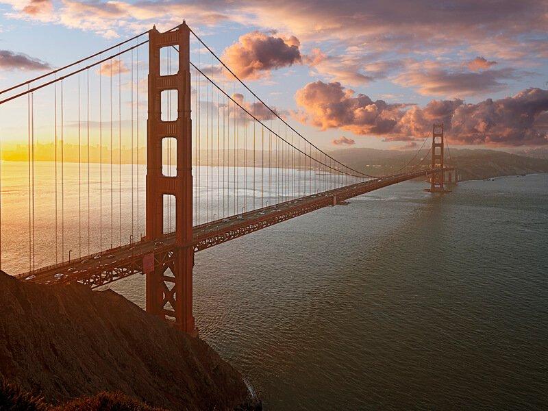 golden bridge sunset